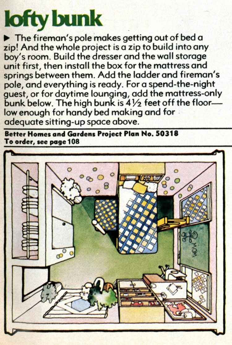 Fun furniture Make a lofty bunk (1976)