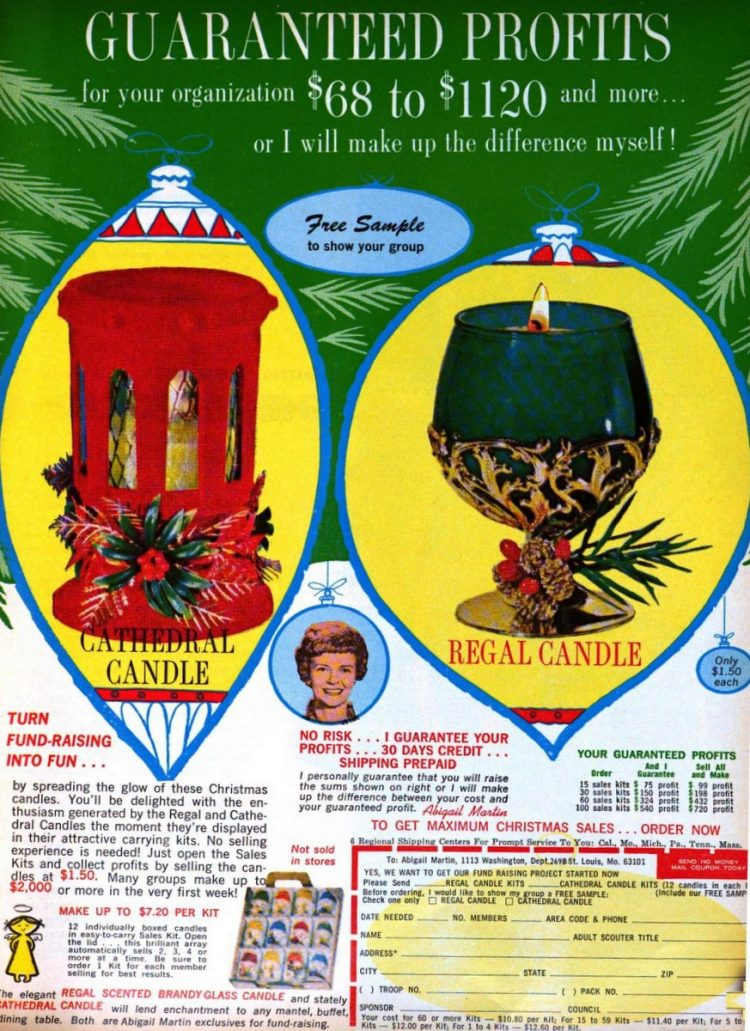 Fundraiser Christmas candles to sell in 1970