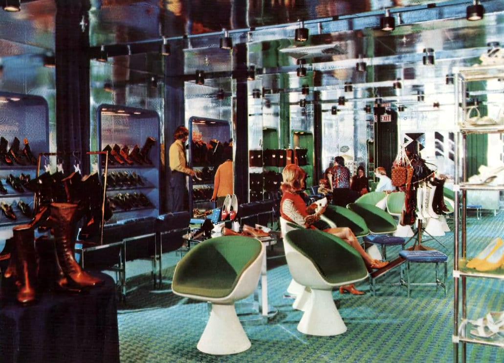Funky vintage shoe store decor (1971)
