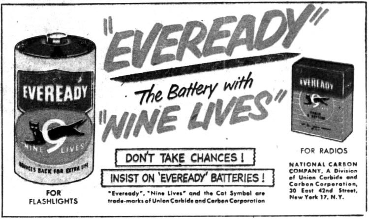 Funnies section Eveready Battery ad - The child who wouldn't drown 1952 (1)