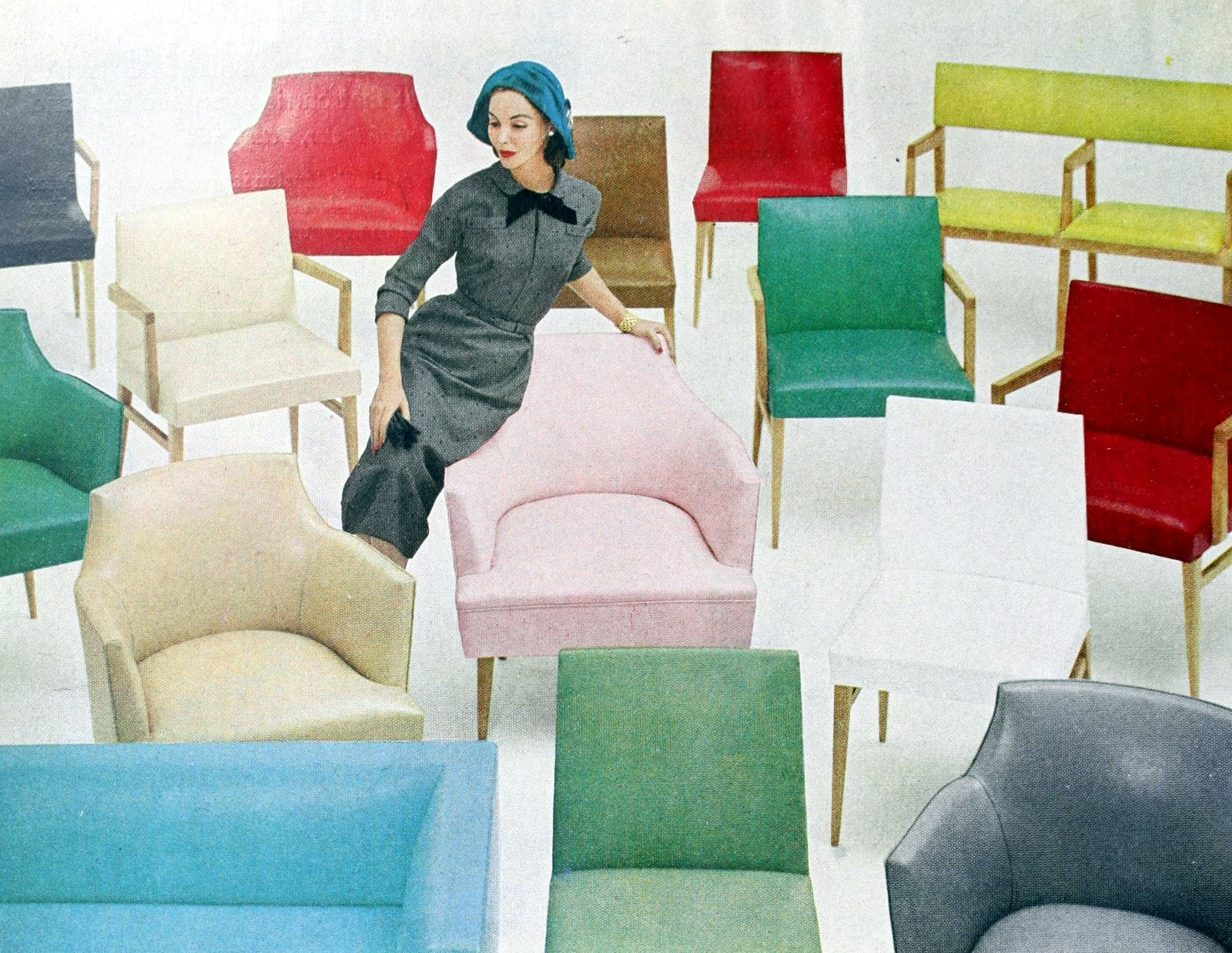 Furniture colors available in the late 1950s