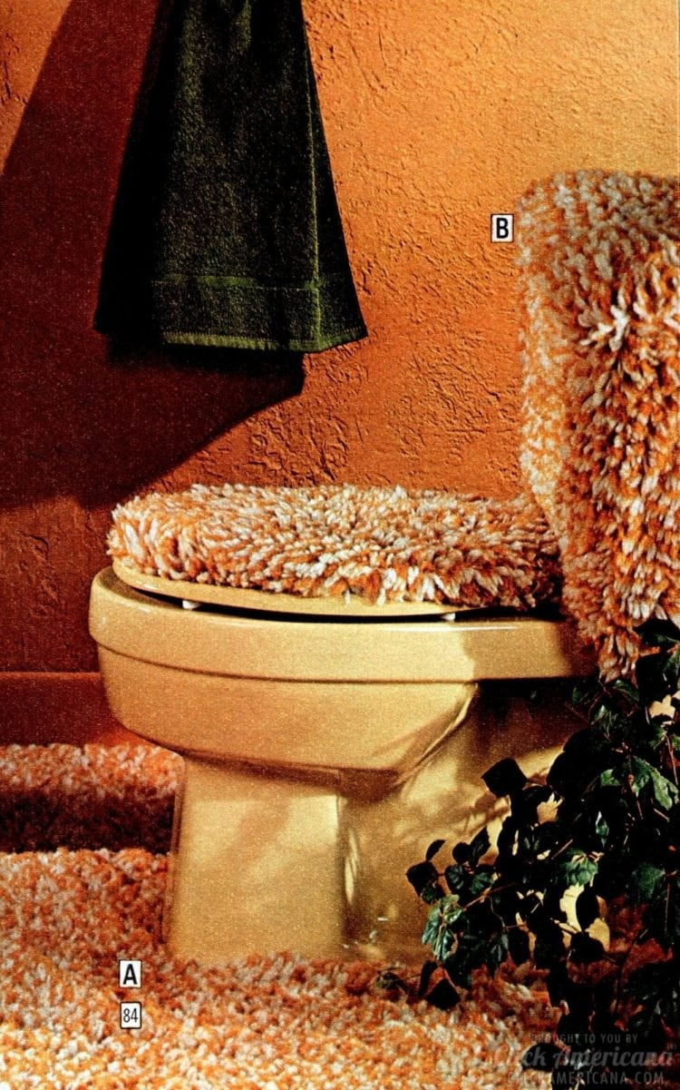 Twisted shag toilet cover for the tackiest retro bathroom decor