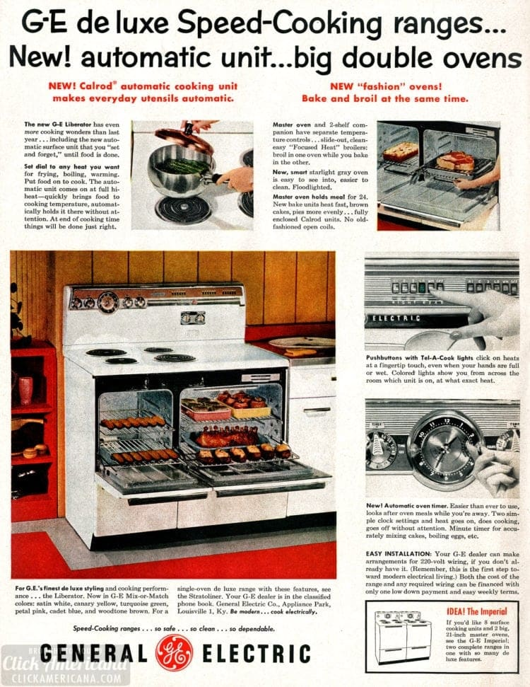 GE Deluxe Speed-Cooking ranges from 1955