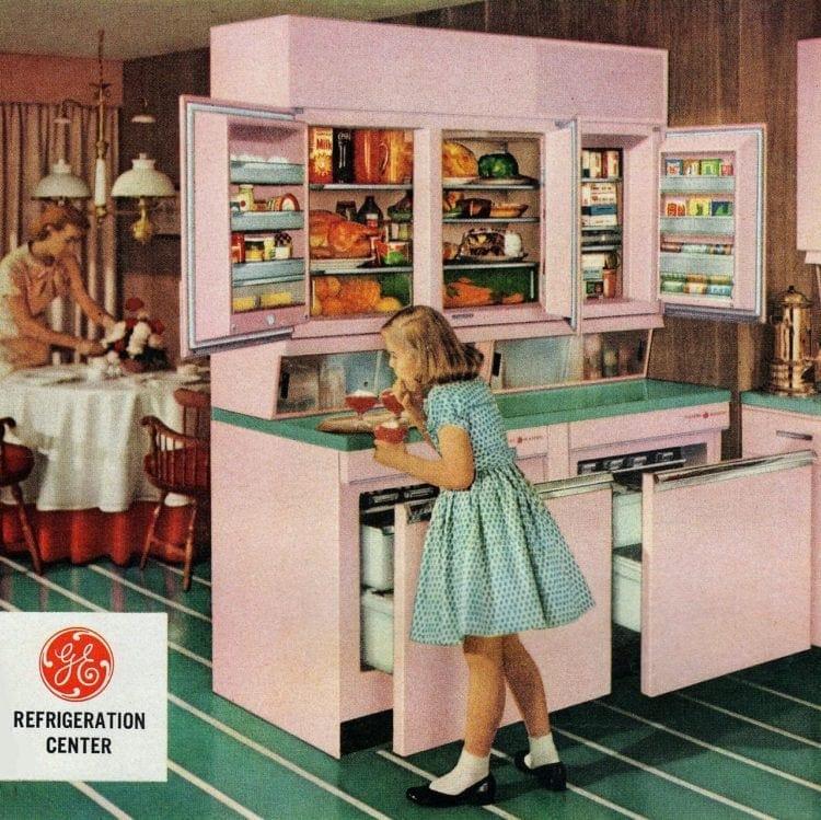 Old-fashioned GE vintage refrigeration center - upper and lower fridges for the kitchen
