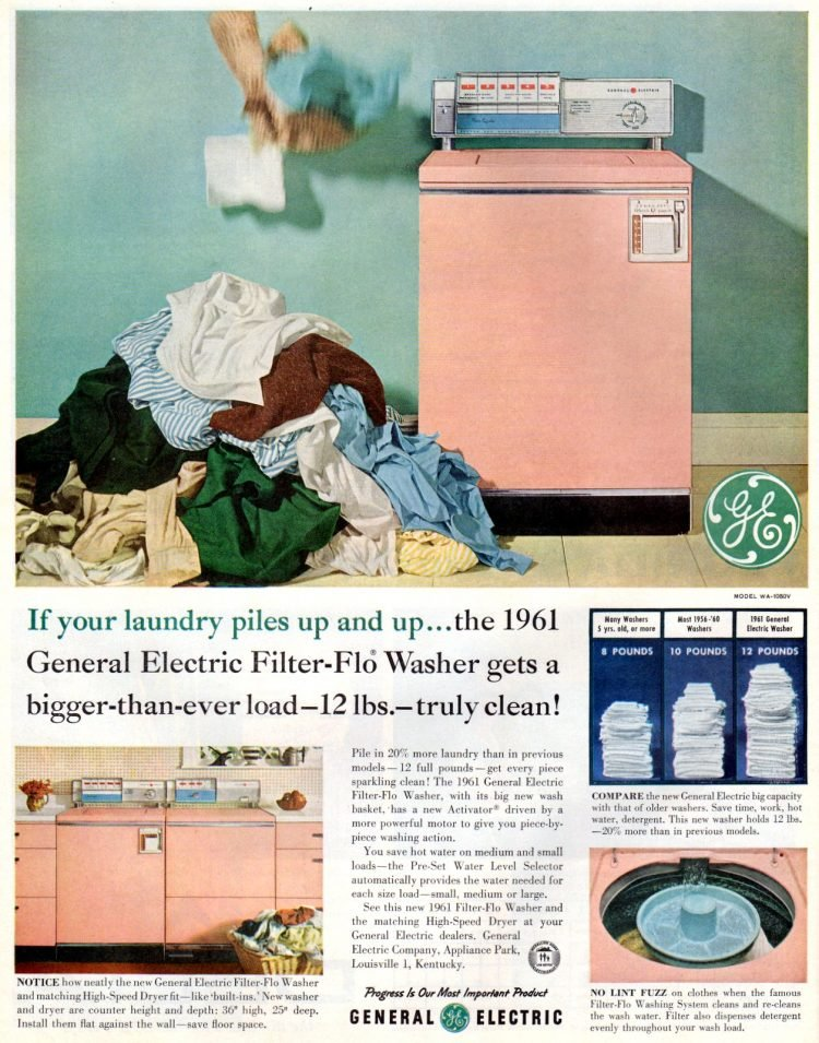 GE washing machine and dryer (1961)