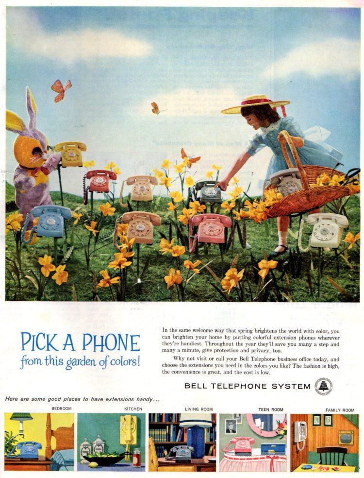 Garden of phones - Vintage ad from 1960