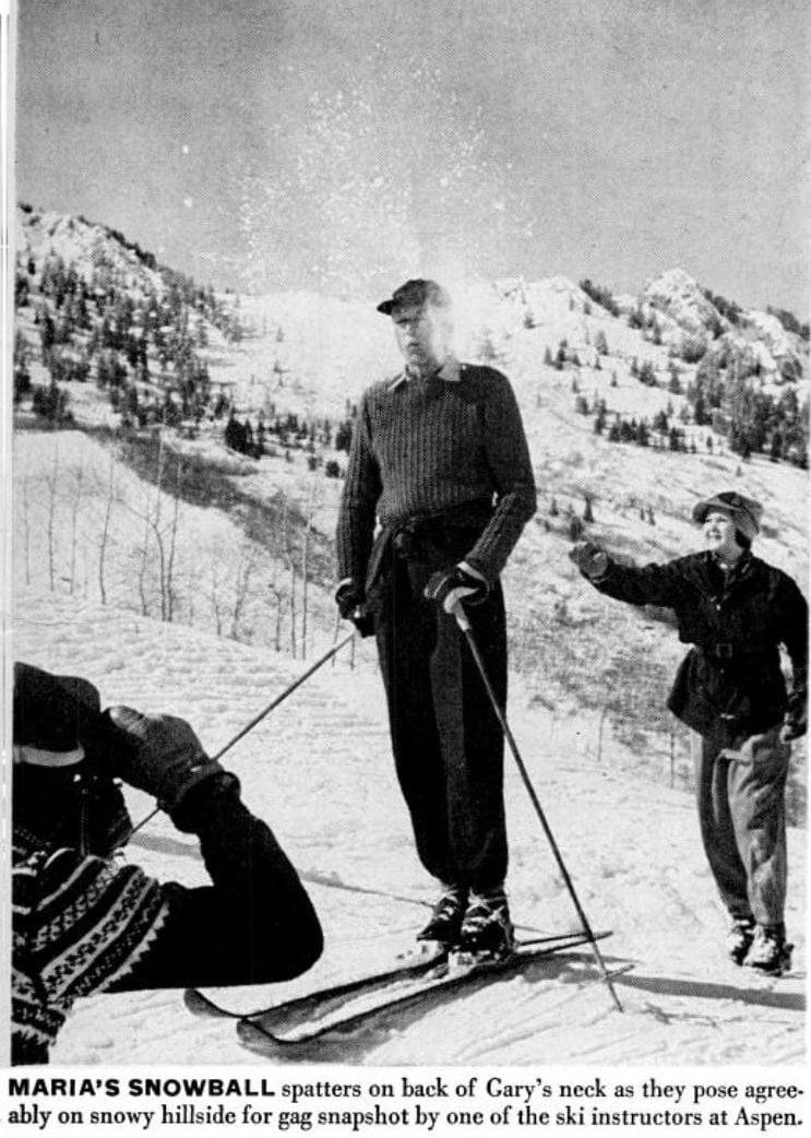 Gary Cooper and family skiing in 1949 (2)