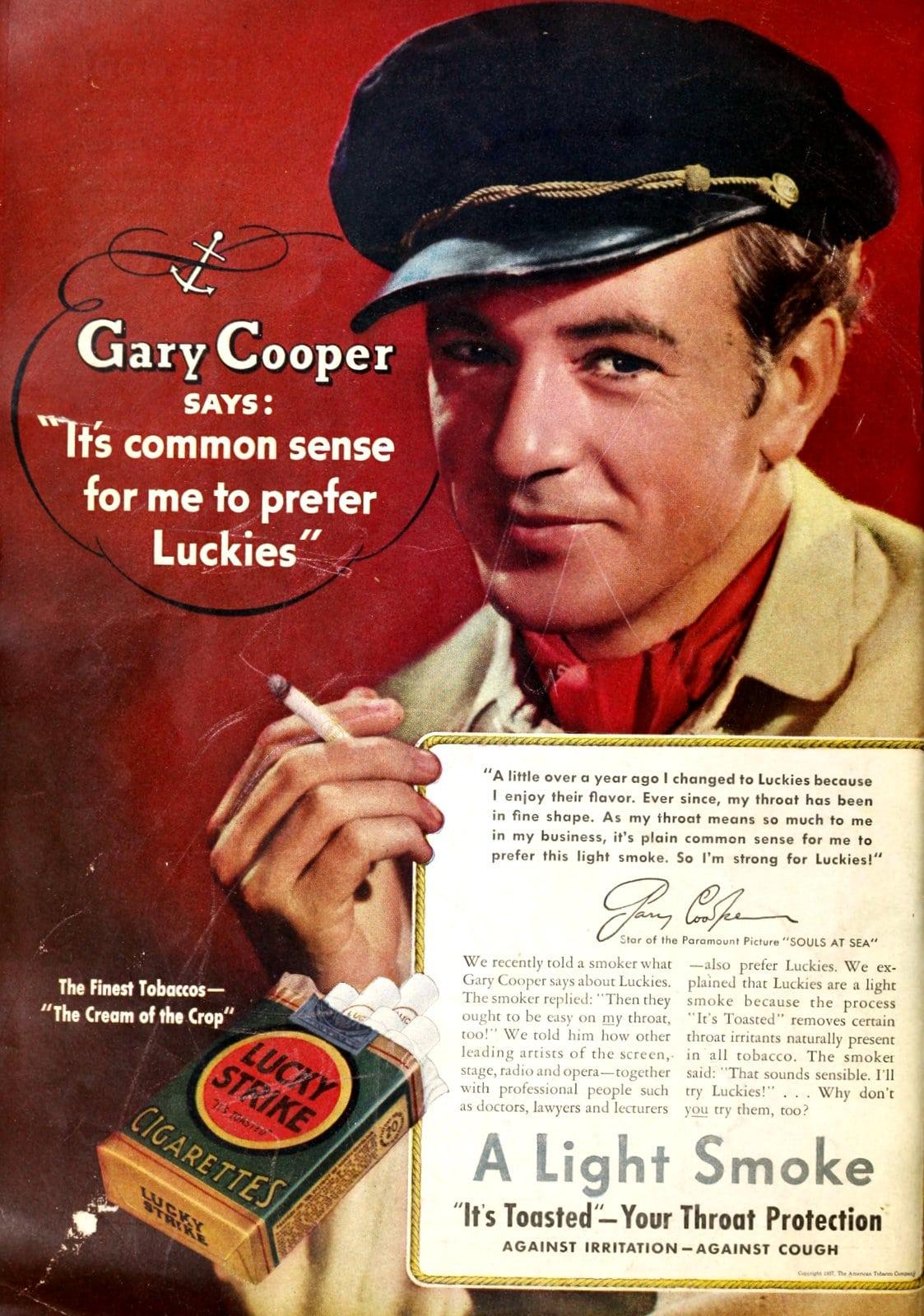 Gary Cooper for Lucky Strike cigarettes (1930s)