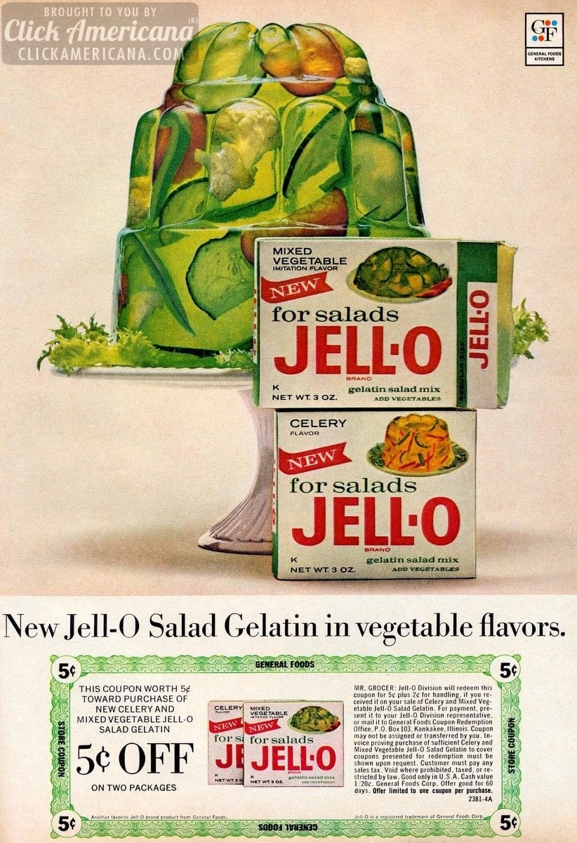 Jell-O Salad Gelatin: Celery & mixed vegetable flavors (1964)