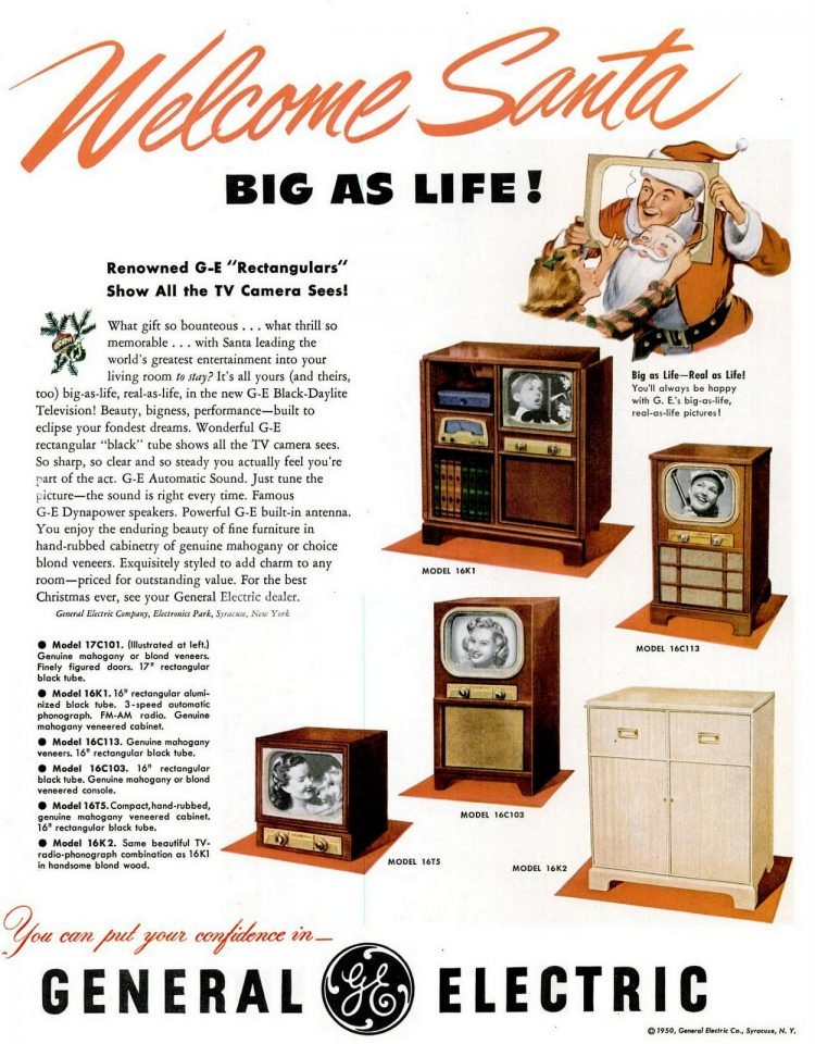 General Electric TV sets for Christmas from 1950 (1)