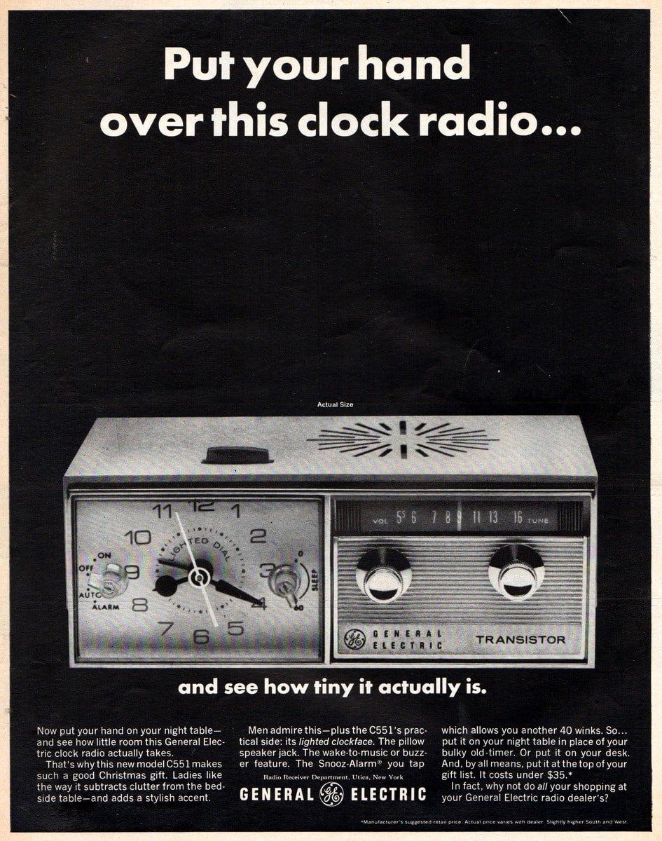 General Electric clock radio 1965