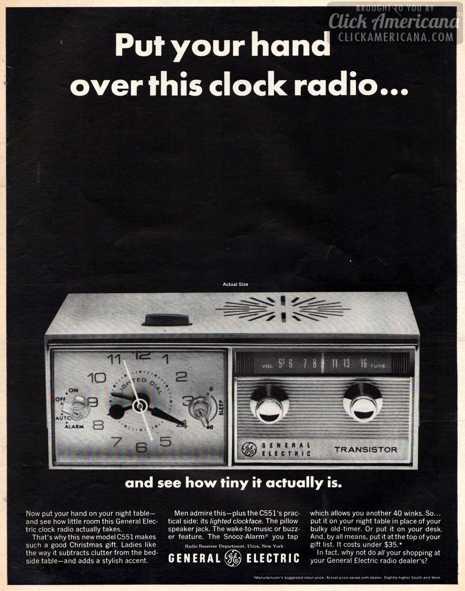 GE's clock radio fits on your bedside table (1965)