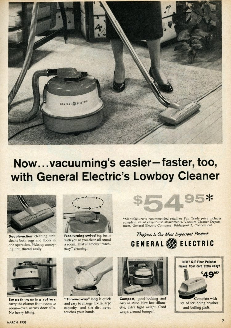General Electric lowboy vacuum cleaner from 1958
