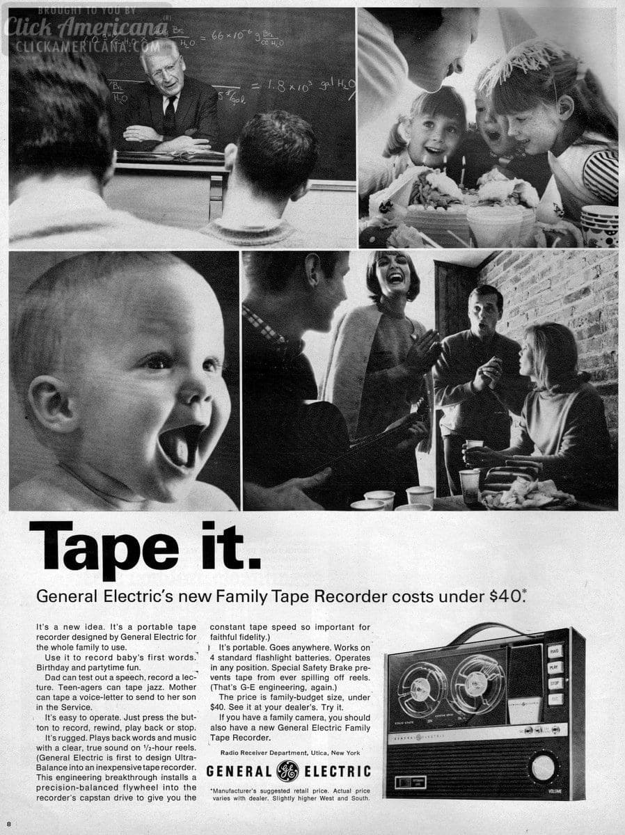 General Electric family reel-to-reel tape recorders (1965)