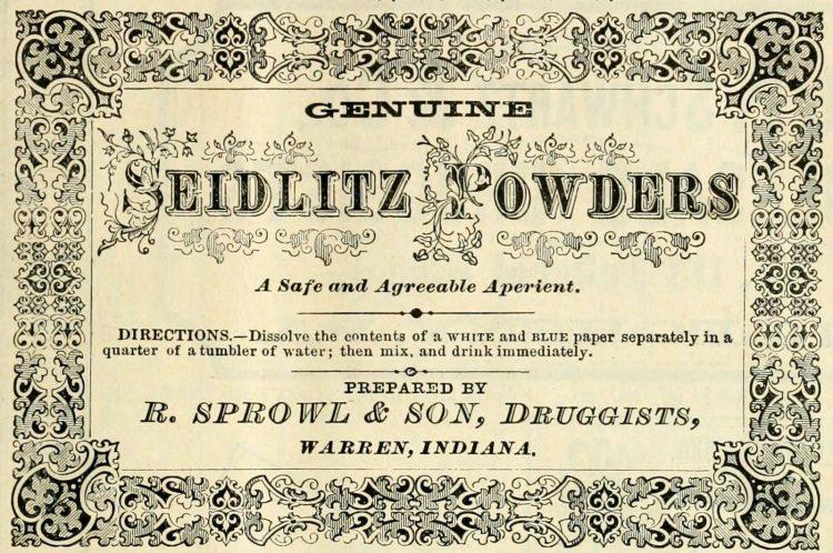 Genuine Seidlitz Powders - Vintage drugstore (1874)