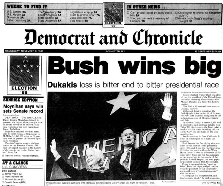George H W Bush elected President - Newspaper headlines from Democrat and Chronicle Rochester NY - November 9 1988