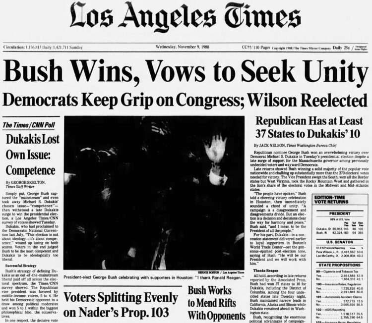 George H W Bush elected President - Newspaper headlines from The Los Angeles Times - November 9 1988