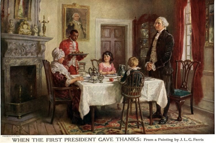 George Washington and family on Thanksgiving