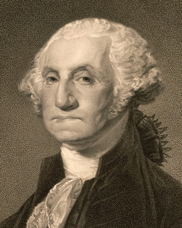 George Washington portrait with puffed face from dentures/false teeth
