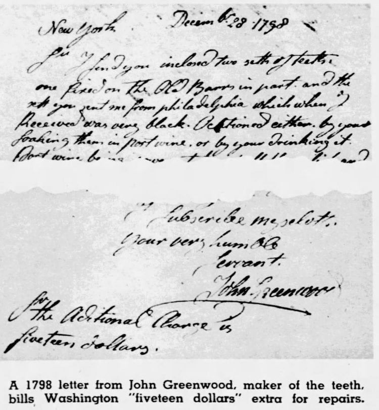 Letter to George Washington from Dr. John Greenwood