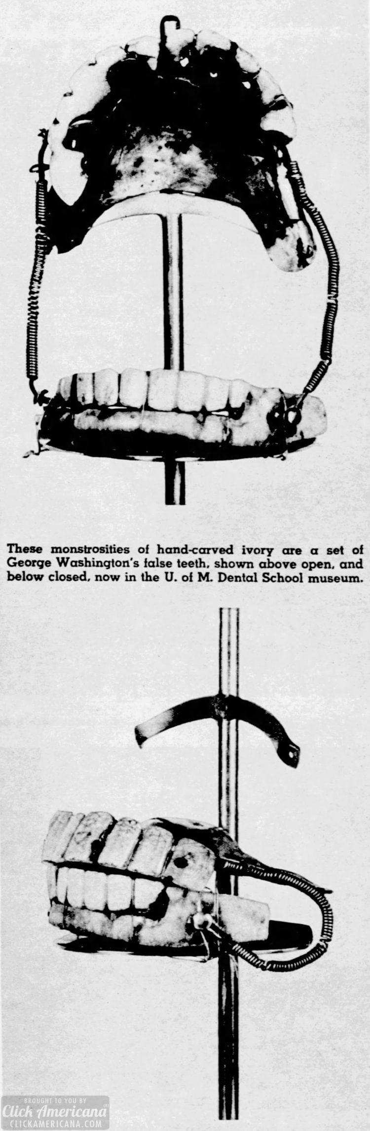 George Washington's false teeth in 1954