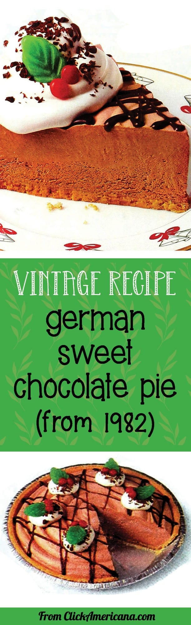Vintage recipe for German sweet chocolate cheesecake pie (from 1994) - via Click Americana