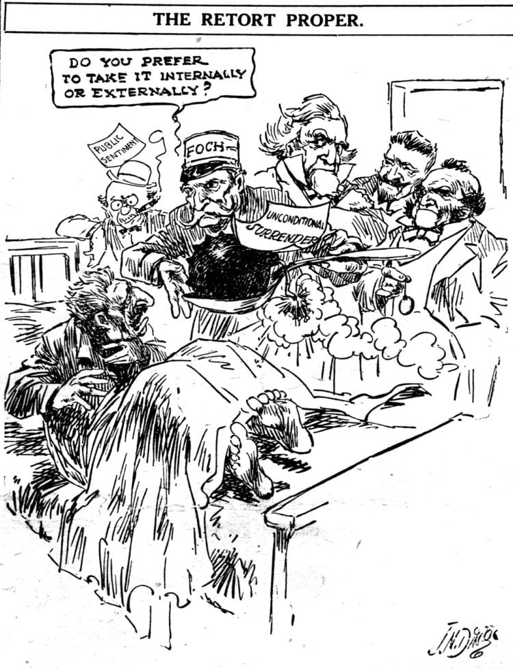 Germany surrender political cartoon from 1918 WWI