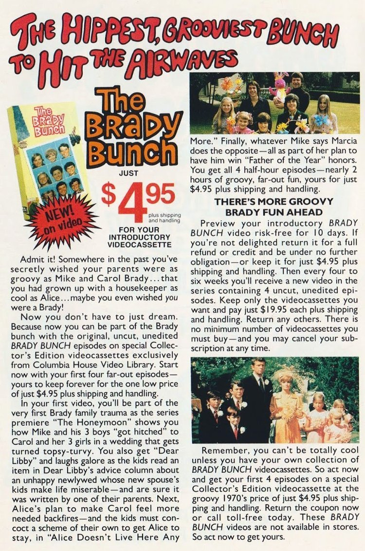 Get the Brady Bunch TV series on videocassette - 1994 offer