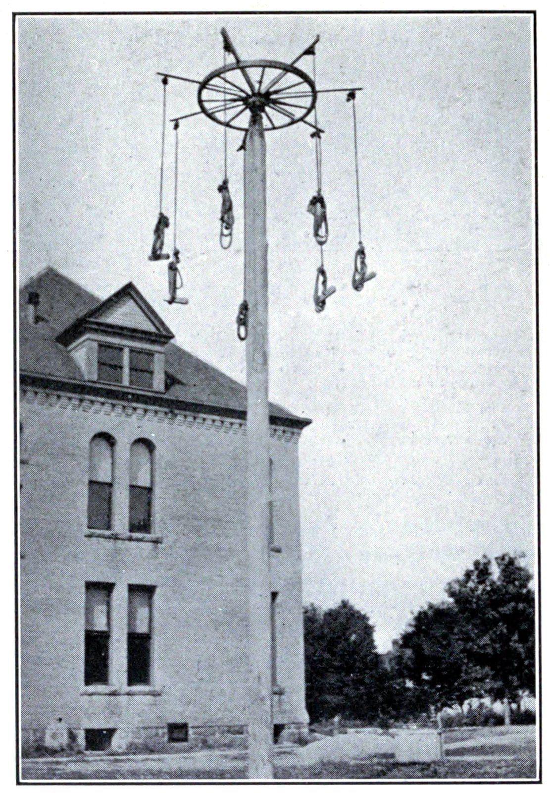 Giant stride playground toy - Super-tall homemade version (1918)