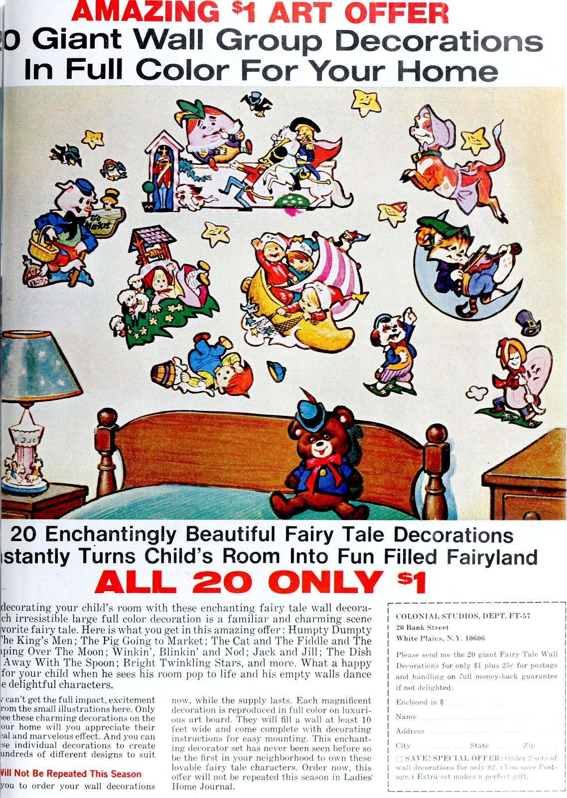 Giant wall stickers for DIY child's bedroom decor (1967)