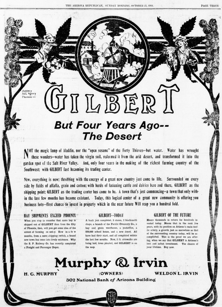 Gilbert, Arizona But four years ago, the desert (October 25, 1914)