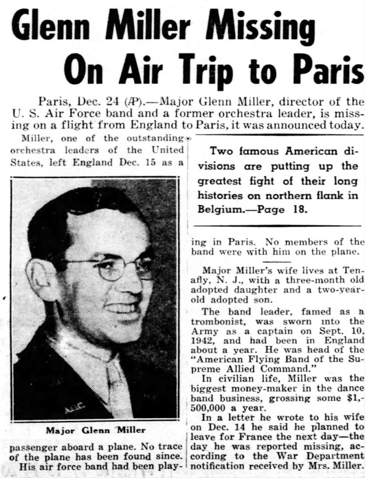 Glenn Miller missing on air trip to Paris (1944)