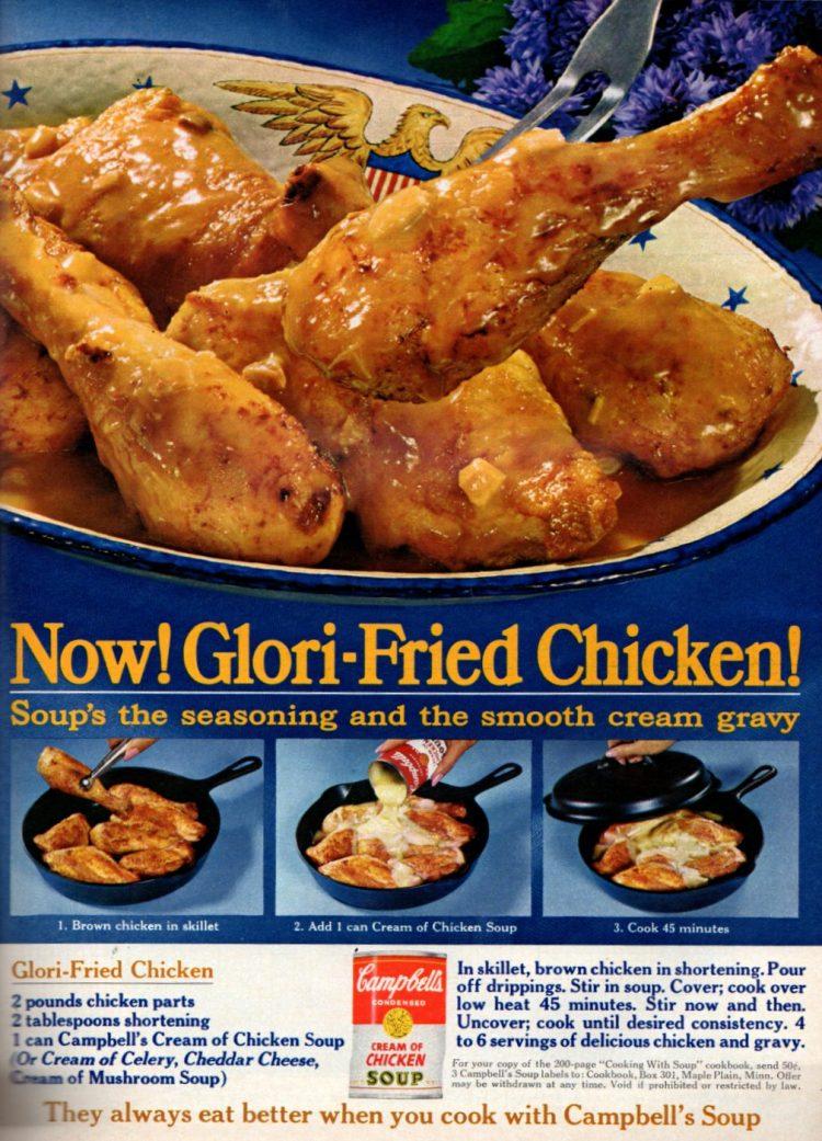 Glori-fried chicken with gravy recipe (1966)