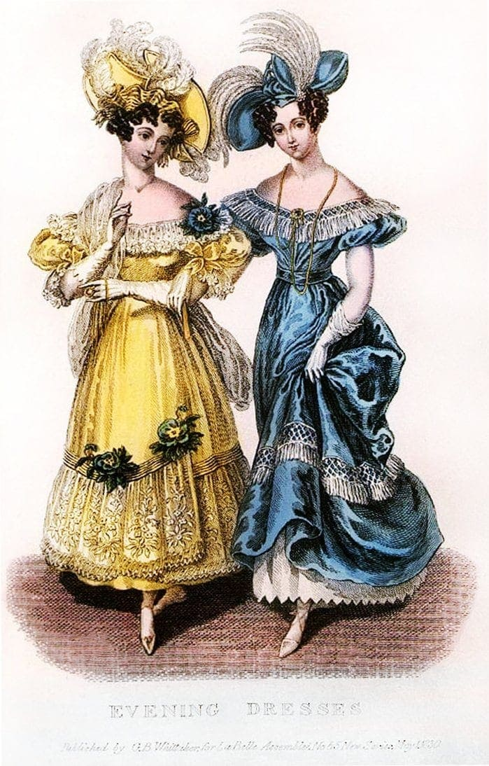 Godey's Lady's Book fashion for women from 1830 - Evening dresses