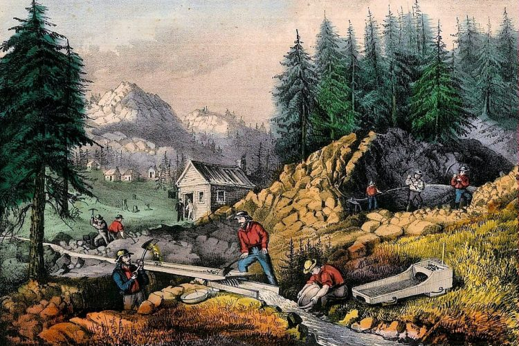 Gold Rush in California - Currier and Ives