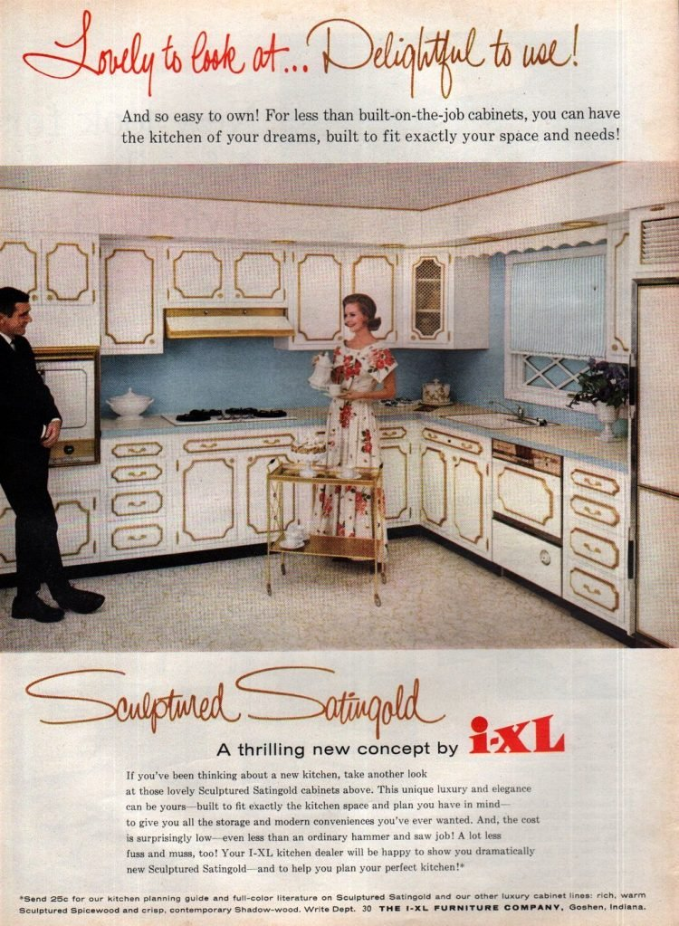Gold-edged vintage kitchen cabinetry from 1963
