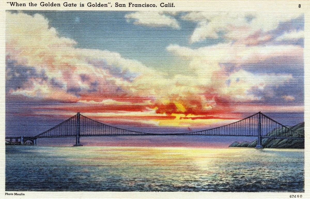 Golden Gate Bridge at Sunset - San Francisco - Vintage postcard from 1930s-1940s