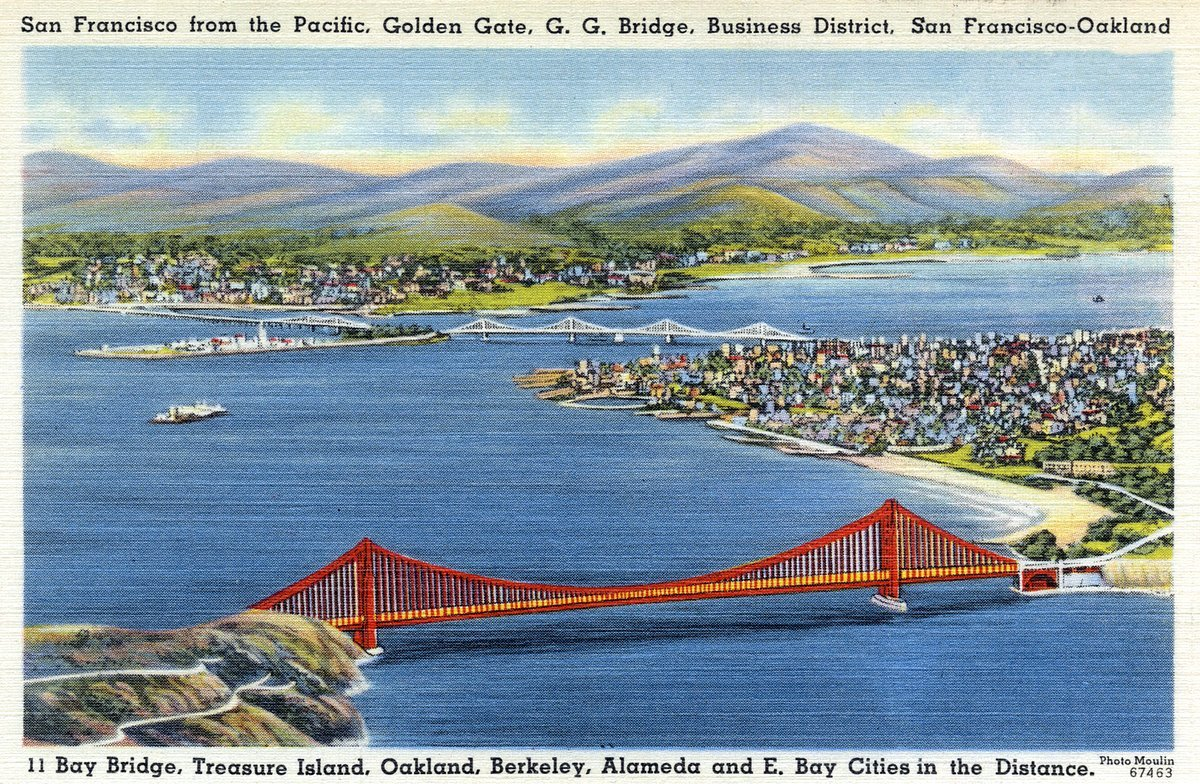 Golden Gate Bridge by day - Vintage postcard from 1930s-1940s