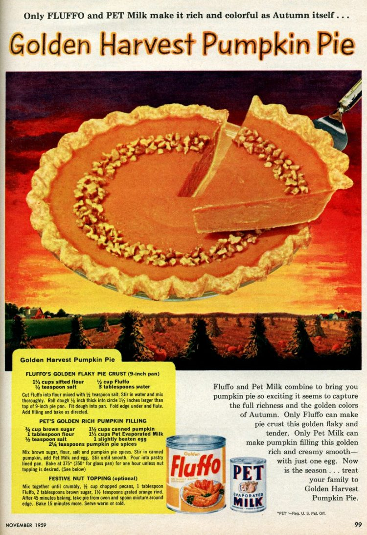 Golden Harvest Pumpkin Pie (1959)