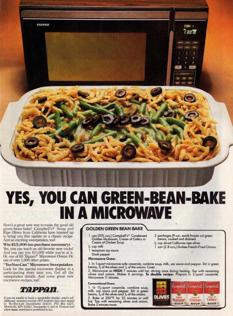 Golden green bean bake recipe - microwave 1987 (1)