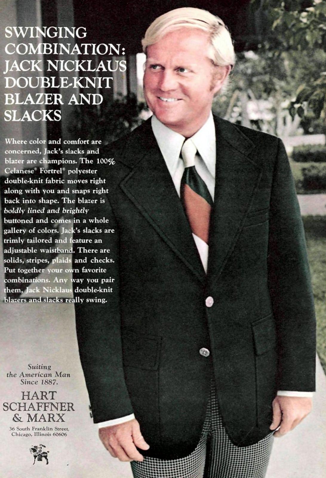 Golfer Jack Nicklaus double-knit blazer and slacks (1973)