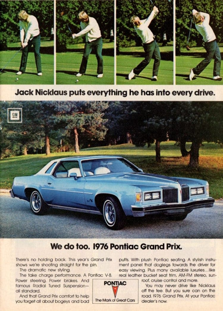 Golfer Jack Nicklaus for the 1976 Pontiac Grand Prix