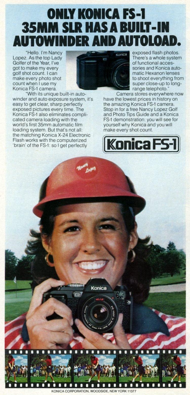 Golfer Nancy Lopez for Konica FS-1 35mm camera 1980