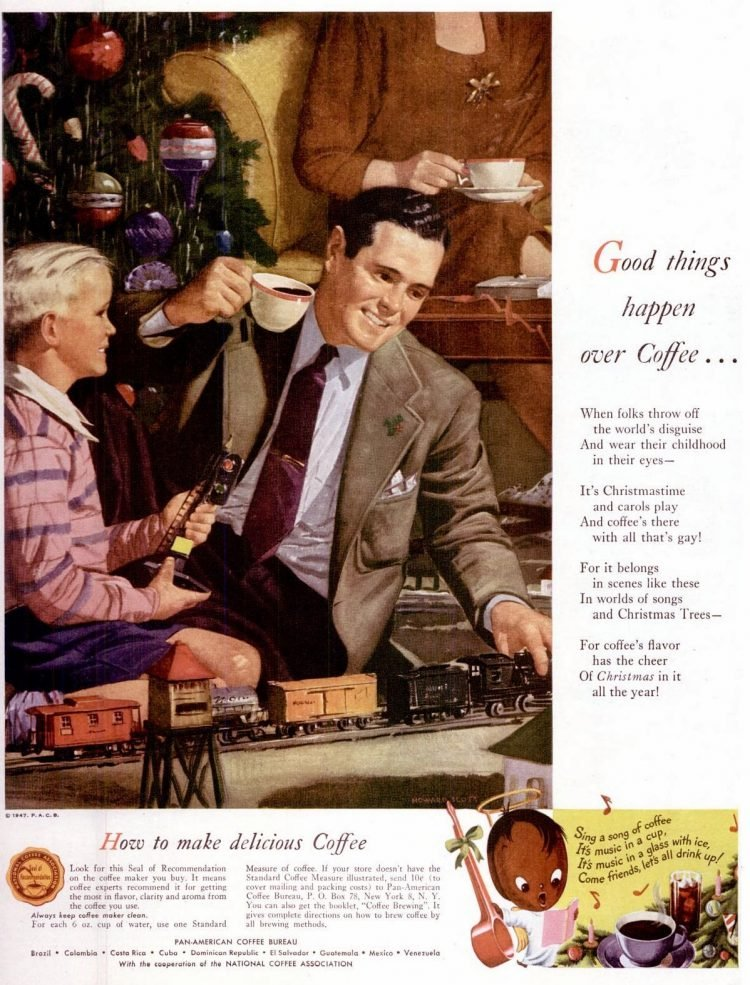 Good things happen over coffee - Christmas 1947
