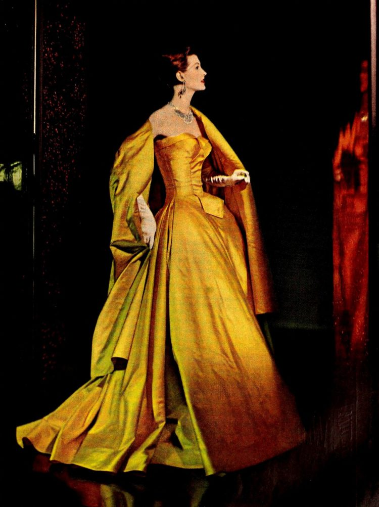 Gorgeous gold classic dress from 1960s