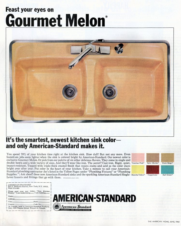 Gourmet melon colored kitchen sinks from 1965