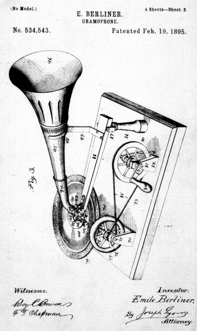 Gramophone No. 534543, patented 1895