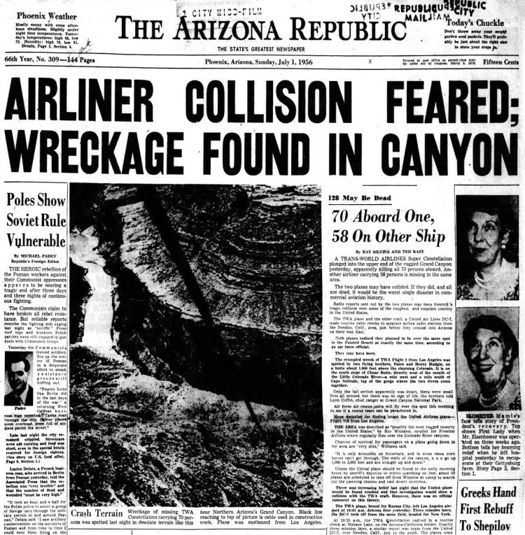 Grand Canyon plane crash in Arizona - July 1 1956 - Newspaper headlines