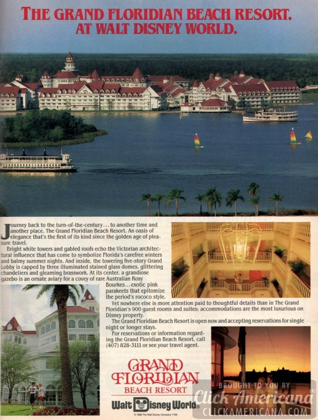 Grand Floridian Beach Resort at Walt Disney World-november-1988