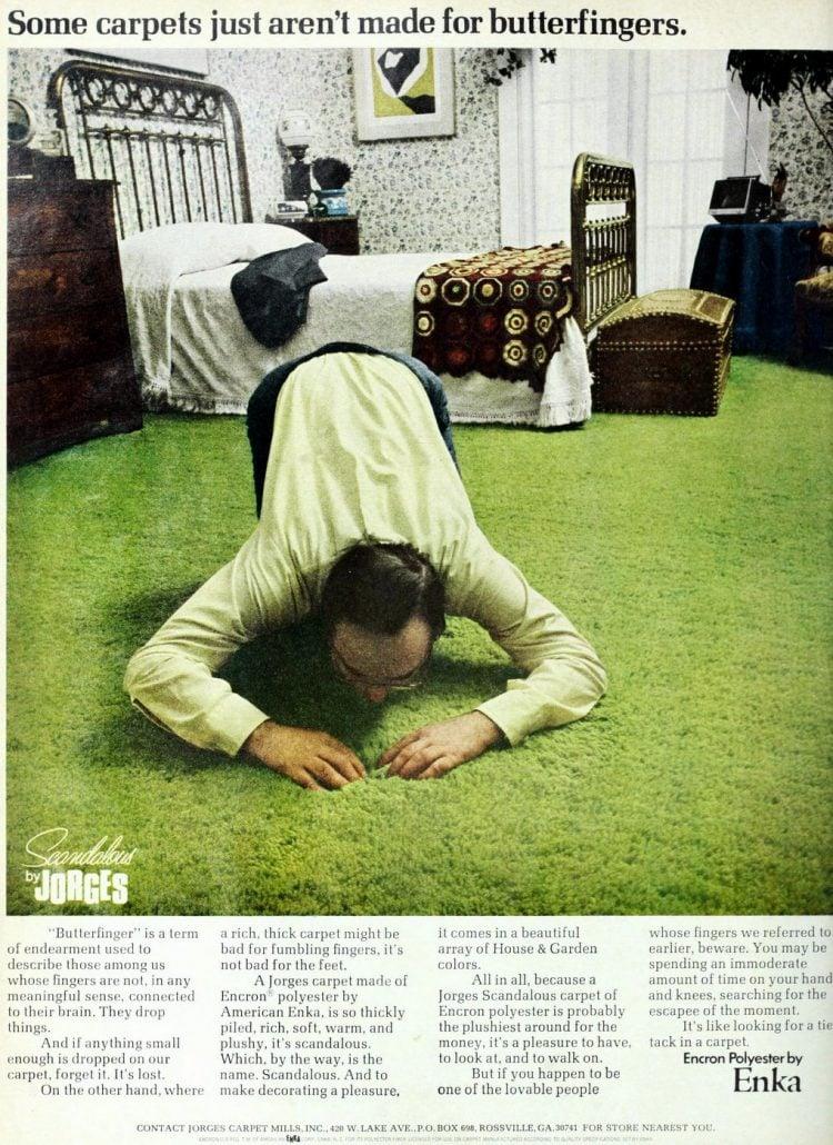 Grass green vintage shag bedroom carpet 1970